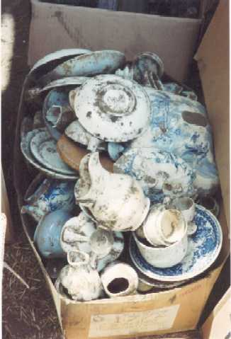 one of the boxes of blue  white china recovered